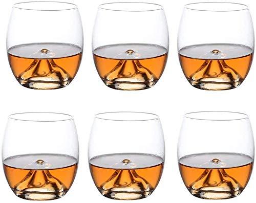 QJTZ Vasos de Whisky Juego de 6, Gafas de Coctel Elegante, la Prima del Vidrio de Vino Copas, Vasos de Vidrio de cóctel, Licor o Bourbon Vasos Vasos (300 ml) 712