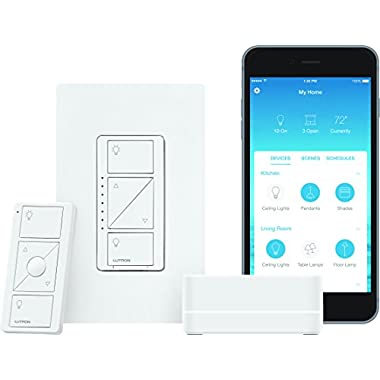 Lutron Caseta Wireless Smart Lighting Dimmer Switch Starter Kit, P-BDG-PKG1W, Works with Alexa