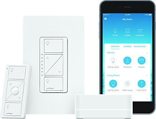 Lutron P-BDG-PKG1W Caseta Wireless Dimmer Kit with Smart Bridge, White