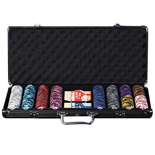 Fichas Poker Texas Holdem con Estuche de Aluminio, Fichas de Juego Clay Blackjack Casino para Entretenimiento en el Hogar y Juegos de Fiesta