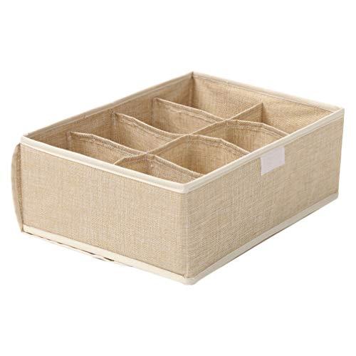 Cabilock Bra Organizer Storage Box Underwear Drawer Organizer Divider Compartment Underwear Storage Box Bra Storage Container for Home Clothes Socks Lingerie Underwear Tie (Khaki)