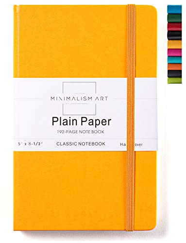 Minimalism Art | Classic Notebook Journal, Size: 5' X 8.3', A5, Yellow, Plain/Blank Page, 192 Pages, Hard Cover/Fine PU Leather, Inner Pocket, Quality Paper - 100gsm | Designed in San Francisco