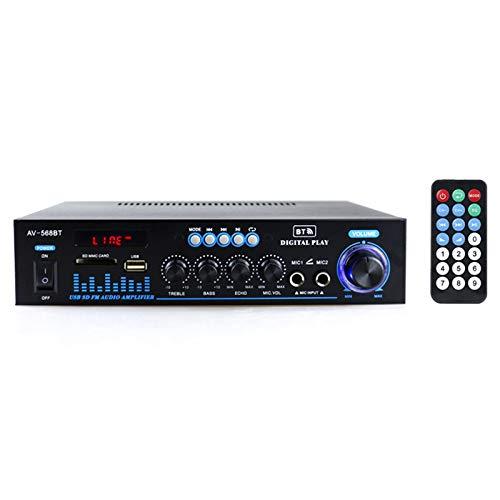 Docooler 12V   220V Amplificateur de Puissance Audio BT Récepteur Audio numérique AMP Fente pour Carte mémoire USB Lecteur MP3 Affichage LCD Double entrée Micro avec télécommande 2CH 500W + 500W