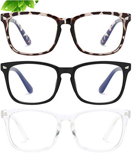 3-Pack Anti Blue Reading Glasses For Women Square Readers Magnification Eyeglasses Tortoise / Black / Clear Eyeglass Frame Nerd Glasses