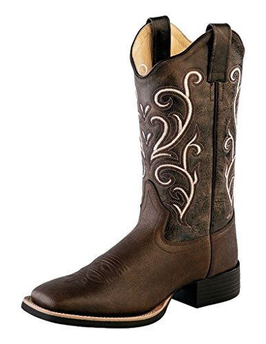 Old West Dark Brown Womens Leather 11in Scallop Cowboy Boots 6M