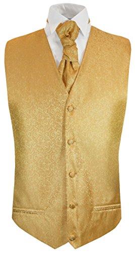 Paul Malone Hochzeitsweste + Plastron Gold barock - Herren Hochzeit Weste Gr. 46/48 XS
