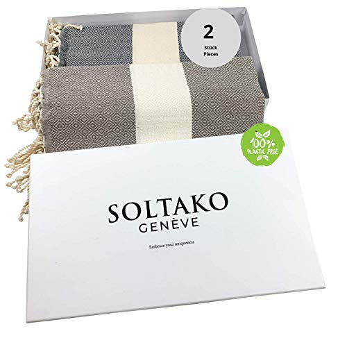 SOLTAKO XXL 2X Fouta Strandtuch Handtuch Saunatuch Badetuch Hamamtuch Yoga Decke Pestemal in Farben Platingrau & Taupe Farben als 2er Geschenkset extra groß, 100 x 200 cm
