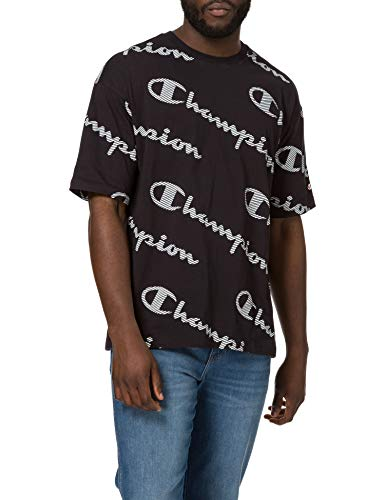 Champion USA Seasonal AC Logo Allover Crewneck T-Shirt Camiseta, Black, XL para Hombre