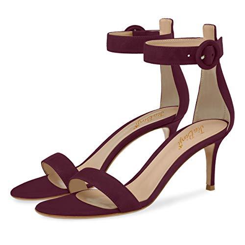 JiaBinji Sandalia de tacón de las mujeres hecho a mano tobillo Straped dedo del pie abierto 4 pulgadas Stiletto sandalias de verano 36 Vino tinto