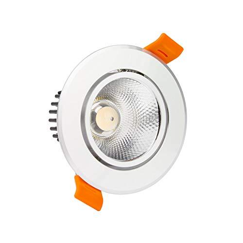 LEDKIA LIGHTING Foco Downlight LED 12W COB Direccionable Circular (UGR19) Plata Corte Ø 90 mm Blanco Cálido 3000K