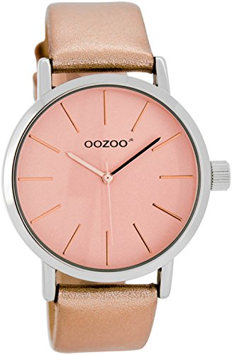 OOZOO JR278 Uhr Damenuhr Lederarmband Metall 20m Analog rose