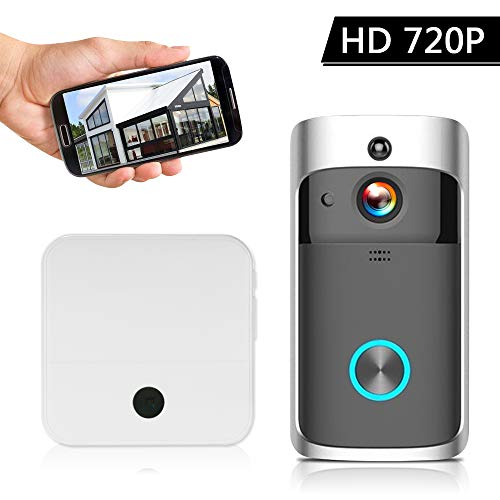 OWSOO video-deurintercomsysteem, draadloos, Smart HD 720P, video Doorbell WI-FI, deurbel voor documenten, IR-alarm, PIR-bewegingsdetectie, met muziekdoos, plug-in zilver EU-1080P-1 Chime zwart.