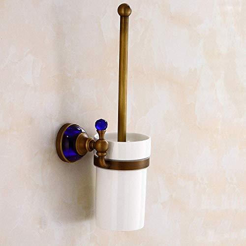 Cepillo Sanitario todo el cobre antiguo serie Cristal Azul wc cepillo nuevo bastidor de antigüedades europeas taza de baño aseo el bastidor del cepillo