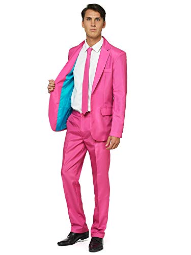 Offstream Plain Colored Suits for Men – Costumes Include Jacket Pants and Tie, S, Plain Pink