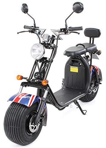 eFlux Harley Two Elektro Scooter 1500 Watt 60 Volt 20AH mit Straßenzulassung 35 Kilometer Reichweite viele Farben (British Flag)