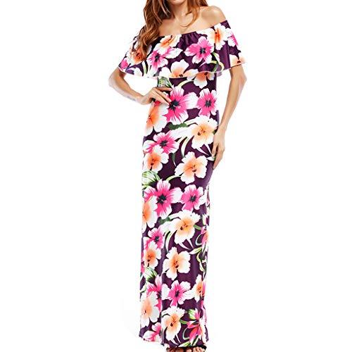 Ropa de Moda, Ropa de Transwen Sexy, Estampado de Flores, Vestido de Verano, Manga Corta, Vestido Largo, Vestido de Fiesta Rosa M