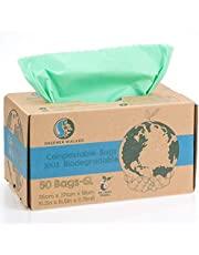 Greener Walker 6L-50 zakken, 100% composteerbare biologisch afbreekbare vuilniszakken 6 l/10 l/30 l keukenlevensmiddelen afvalzakken met EN13432-certificering