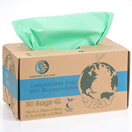Greener Walker 100% compostabile biodegradabile 6L Sacchi per Rifiuti Alimentari da Cucina-150 Sacchetti