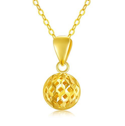 Solid 18K Gold Ball Necklace Jewelry for Women, 8MM Yellow Gold Hollow-Out...