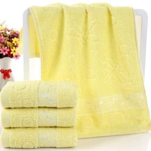 HGJINFANF 33x73cm Alto Agua Absorbente Baño Bañado Ducha Soft Cotton Toalla Toallita para Hombres Adultos Mujeres Secado rápido (Color : Yellow)