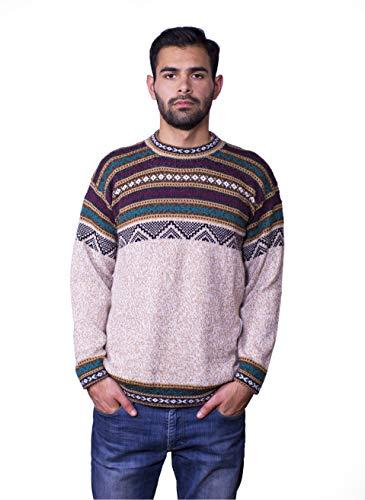 Raymis Herren Pullover aus Alpakawolle, geometrisch, Rundhalsausschnitt, warm, weich und bequem - Beige - Groß