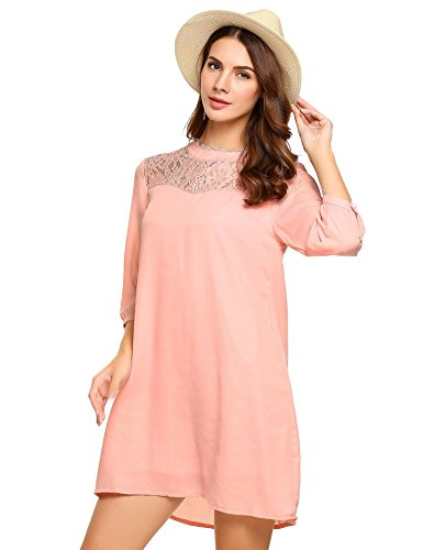Beyove Damen Tunika T-Shirt Kleid 3 4 Spitze Hemd Loose Casual Rundhals Gr. X-Large, Rosa