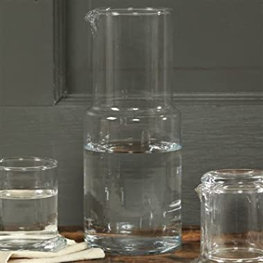 Homart Guest Tall Glass Bedside Carafe with Cup, 34 Ounce