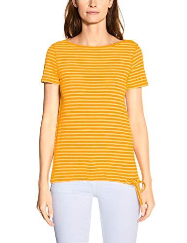 Cecil Damen 314911 Fine Stripe T-Shirt, Mango Yellow, Large