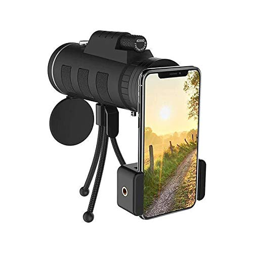 Best Shopper - 40X60 Zoom Monocular Telescope Lens for Smartphone Camera Camping Fishing Hiking + Compass Phone Clip Tripod
