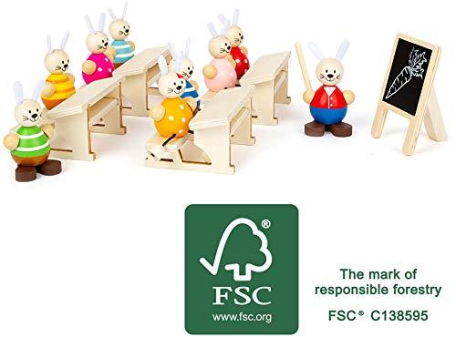 Small Foot-11315 Kit Ecole des lièvres en Bois certifié 100% FSC, décoration de Pâques et Jeu de rôle, à partir de 2 Ans Jouets, 11315, Multicolore