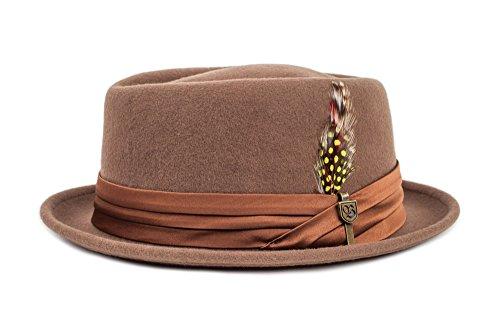 BRIXTON Stout Pork Pie Headwear, Camel, L
