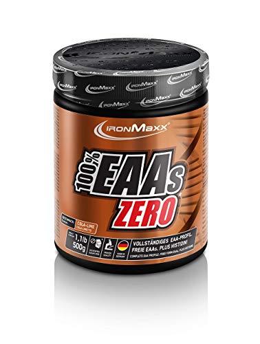 IronMaxx 100{3819fcafeaaafc0ae7b77a4834f7ede9bb67ef84e5160b9e73eddc7c1201394e} EAAs Zero, Cola-Limette – Reines Aminosäuren-Pulver – Zuckerfreies Supplement für den Muskelaufbau – 1 x 500 g Pulver