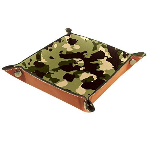 Bandeja de valet Organizador de escritorio Caja de almacenamiento Cuero Bloque marrón verde Bandeja de recogida para uso doméstico