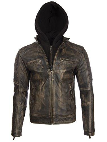 Aviatrix Herren Echtes Leder Vintage Look Biker Mode Jacke Mit Abnehmbare Kapuze, Vegas, 4XL / Chest=48.0 inch