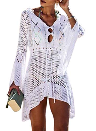 CORAFRITZ Vestido de verano sexy de punto para mujer, con mangas acampanadas, mini vestidos de playa Biniki