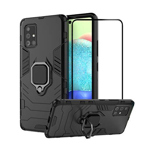 YFXP Funda Compatible con Samsung Galaxy A71(5G) -Posterior Dura Resistente Armadura Resistente Prueba de Golpes Case Cover Duro PC y TPU con Anillo de Soporte Giratorio + Cristal Templado