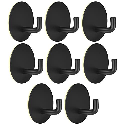 8 Stück Haken Selbstklebende, Edelstahl Handtuchhaken Kleiderhaken Wandhaken Schwarz Ideal für Bad Toilette Küche Büro,Ohne Bohren