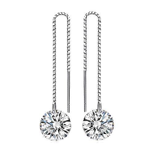 JewelryPalace Pendientes Elegante Largo adornado Circonita Plata de ley 925