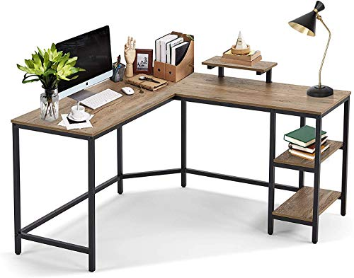 Linsy Computer Desk 54 inch, L Shaped Desk with Shelves Large Monitor Stand, Corner Desk for Office Home, Easy to Assemble, Wood