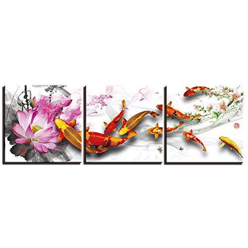 HUAZAI Koi Carpa China fengshui Lienzo Pintura Arte Impreso imágenes Impresas 3 Panel Poster Pinturas Foto para Sala de Estar decoración (Size (Inch) : 40x40cmx3 No Frame)