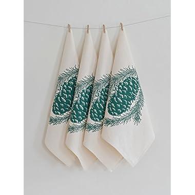 READY TO SHIP - Set of 4 Cloth Napkins - Organic Cotton - Pine Cone Design in Dark Green