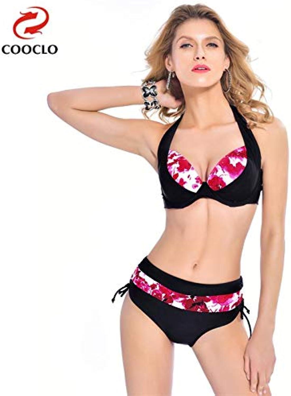 COOCLO 2018 Plus Size Bikinis Set Women Swimwear Halter Floral Large Size Beach Wear Bathing Suits Vintage Swimsuit XXL6XL color Red Size 4XL