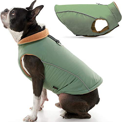 Gooby Sports Dog Vest - Green, Medium - Fleece Lined Dog Jacket Coat with D Ring Leash - Reflective Vest Small Dog Sweater, Hook and Loop Closure - Dog Clothes for Small Dogs Indoor and Outdoor Use