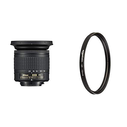 Nikon AF-P DX NIKKOR 10-20mm f/4.5-5.6G VR - Objetivo para cámara, Color Negro + Amazon Basics - Filtro de protección UV - 72mm