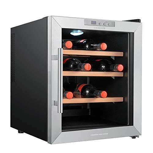 IKOHS VINARIAM WOOD 1600 - Vinoteca de 16 botellas, 46 l, 70 W, Luz LED, Display Digital, 3 Estantes, Doble Aislamiento, Zonas de temperatura de 8-18 grados, Baldas Madera