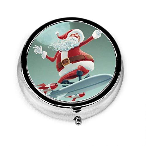Weihnachten lustige Santa Plane Skateboard Flying Vintage Runde Pille Box Tasche Medizin Tablette Halter Organizer Fall für Geldbörse