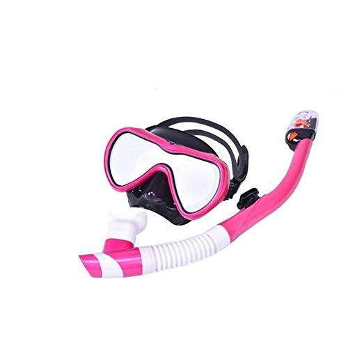 Tauchausrüstung Wassersport Im Freien Tauchermaske Brille Schnorchel Schwimmen Full Dry Schnorchel Anzug Silikon Stroh (Farbe: Rosen-Rot, Größe: Erwachsene) ANGANG