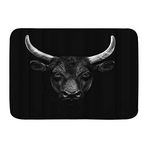 TONKSHA Dekorativer Badezimmer Boden Teppich,Bull Natur Nutztier Schwarz Camargue Bull Face Wild Beast Horn,Badematte rutschfest,75 x 45 cm