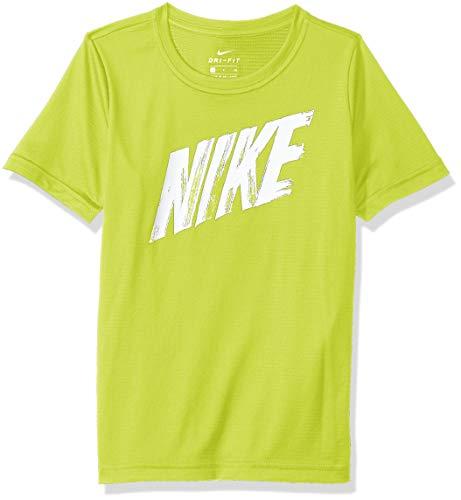 Nike B Nk Dry Top SS – Maglietta da Bambino, Bambino, Maglietta, AQ9554_XL, Giallo (Cyber)/Bianco, XL