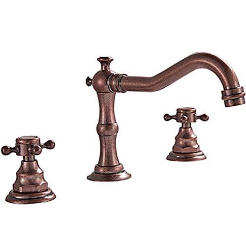 LCSD Wasserhahn Waschbecken Wasserhahn - weit verbreitet Bronze Deck montiert Zwei Griffe DREI LöcherBad Wasserhähne